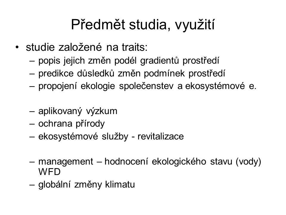 Předmět studia, využití studie založené na traits: –popis jejich změn podél gradientů prostředí –predikce důsledků změn podmínek prostředí –propojení