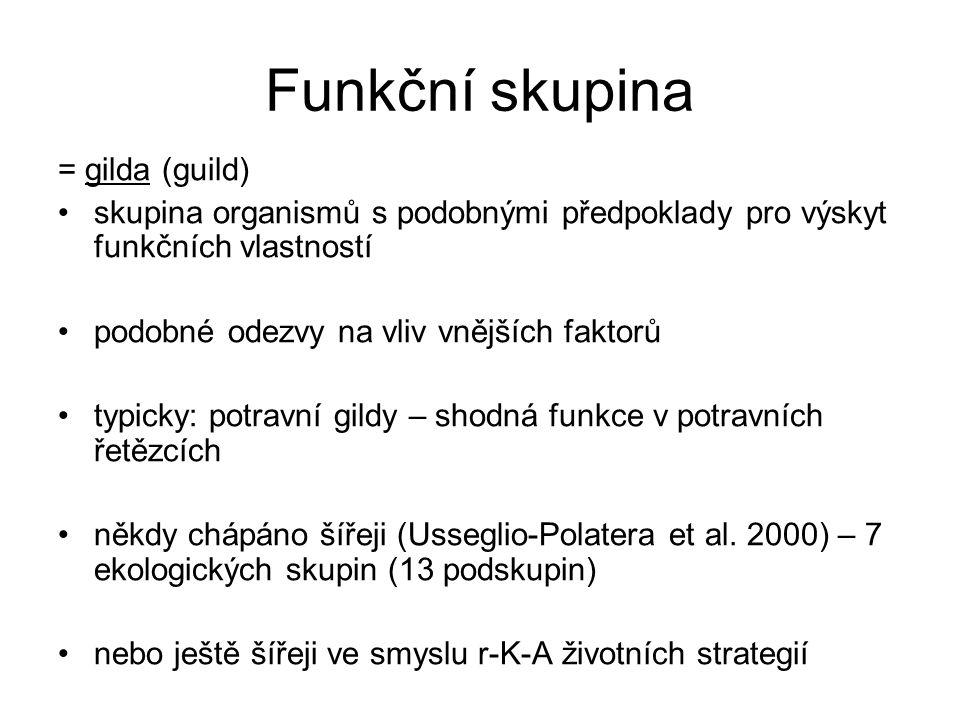 Funkční skupina = gilda (guild) skupina organismů s podobnými předpoklady pro výskyt funkčních vlastností podobné odezvy na vliv vnějších faktorů typi