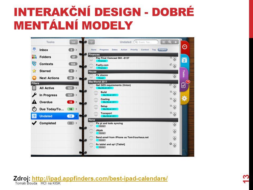 INTERAKČNÍ DESIGN - DOBRÉ MENTÁLNÍ MODELY Zdroj: http://ipad.appfinders.com/best-ipad-calendars/http://ipad.appfinders.com/best-ipad-calendars/ Tomáš Bouda HCI na KISK 13