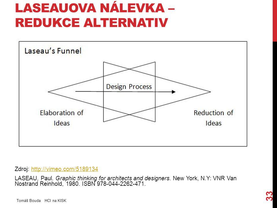 LASEAUOVA NÁLEVKA – REDUKCE ALTERNATIV Tomáš Bouda HCI na KISK 33 Zdroj: http://vimeo.com/5189134http://vimeo.com/5189134 LASEAU, Paul. Graphic thinki