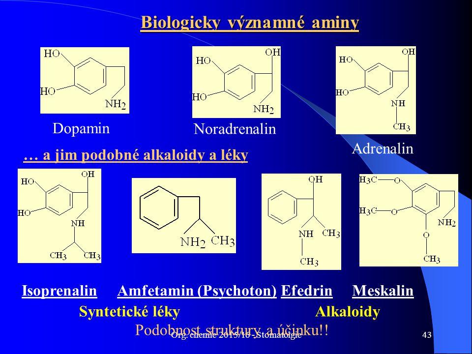 Org. chemie 2015/16 - Stomatolgie43 Biologicky významné aminy Noradrenalin … a jim podobné alkaloidy a léky Dopamin Adrenalin Isoprenalin Amfetamin (P