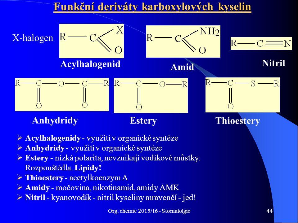 Org. chemie 2015/16 - Stomatolgie44 Funkční deriváty karboxylových kyselin Amid Acylhalogenid Nitril  Acylhalogenidy - využití v organické syntéze 