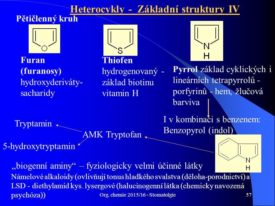 Org. chemie 2015/16 - Stomatolgie57 Heterocykly - Základní struktury IV Pětičlenný kruh Furan (furanosy) hydroxyderiváty- sacharidy Thiofen hydrogenov