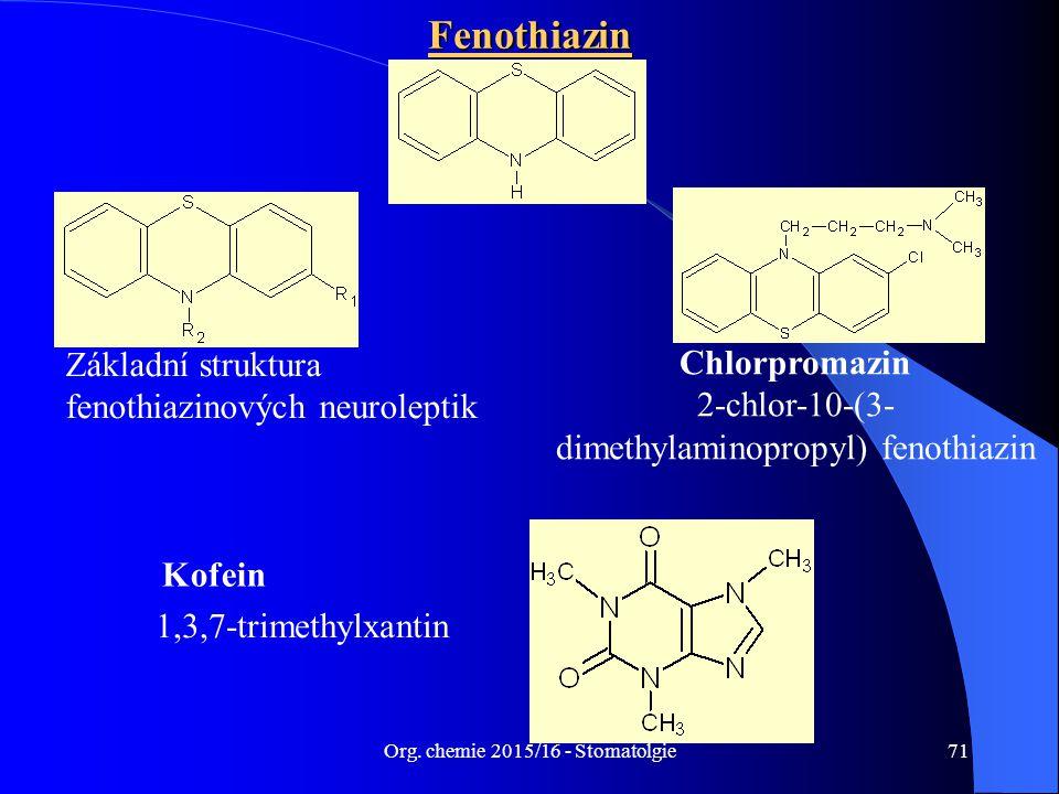 Org. chemie 2015/16 - Stomatolgie71Fenothiazin Základní struktura fenothiazinových neuroleptik Chlorpromazin 2-chlor-10-(3- dimethylaminopropyl) fenot