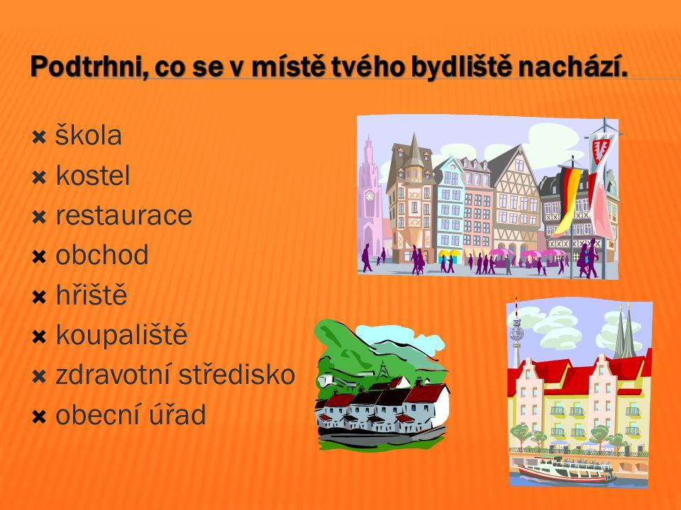  škola  kostel  restaurace  obchod  hřiště  koupaliště  zdravotní středisko  obecní úřad