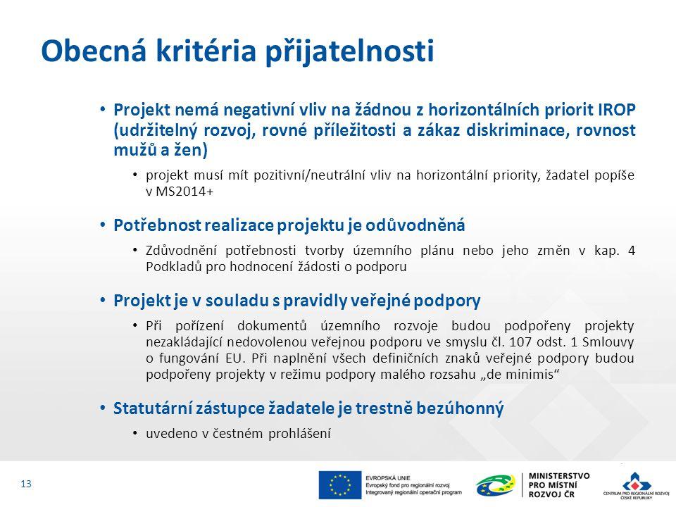 Projekt nemá negativní vliv na žádnou z horizontálních priorit IROP (udržitelný rozvoj, rovné příležitosti a zákaz diskriminace, rovnost mužů a žen) projekt musí mít pozitivní/neutrální vliv na horizontální priority, žadatel popíše v MS2014+ Potřebnost realizace projektu je odůvodněná Zdůvodnění potřebnosti tvorby územního plánu nebo jeho změn v kap.