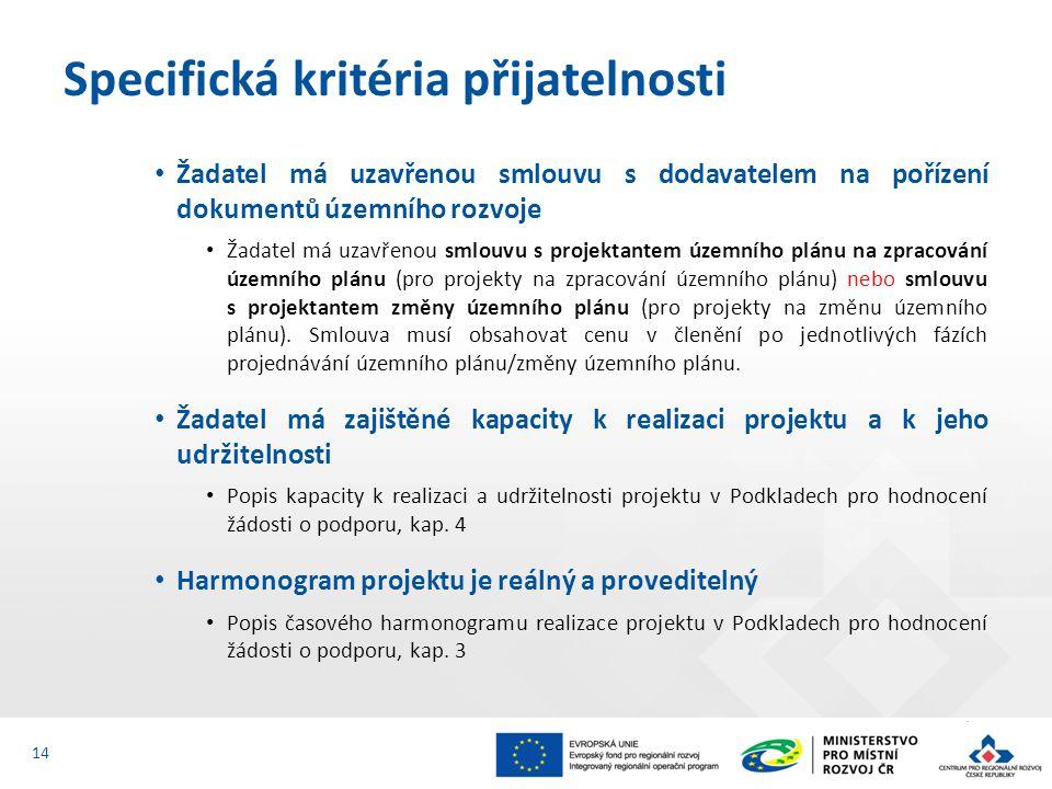 Žadatel má uzavřenou smlouvu s dodavatelem na pořízení dokumentů územního rozvoje Žadatel má uzavřenou smlouvu s projektantem územního plánu na zpracování územního plánu (pro projekty na zpracování územního plánu) nebo smlouvu s projektantem změny územního plánu (pro projekty na změnu územního plánu).