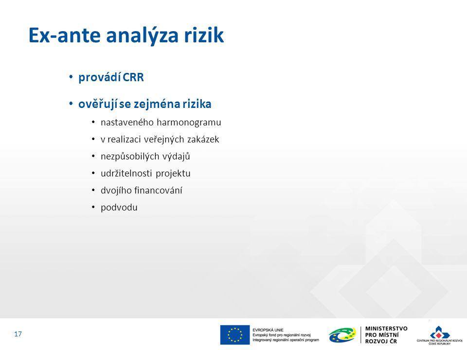 provádí CRR ověřují se zejména rizika nastaveného harmonogramu v realizaci veřejných zakázek nezpůsobilých výdajů udržitelnosti projektu dvojího financování podvodu Ex-ante analýza rizik 17