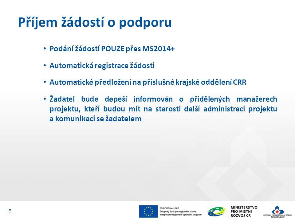 Podání žádostí POUZE přes MS2014+ Automatická registrace žádosti Automatické předložení na příslušné krajské oddělení CRR Žadatel bude depeší informován o přidělených manažerech projektu, kteří budou mít na starosti další administraci projektu a komunikaci se žadatelem Příjem žádostí o podporu 5