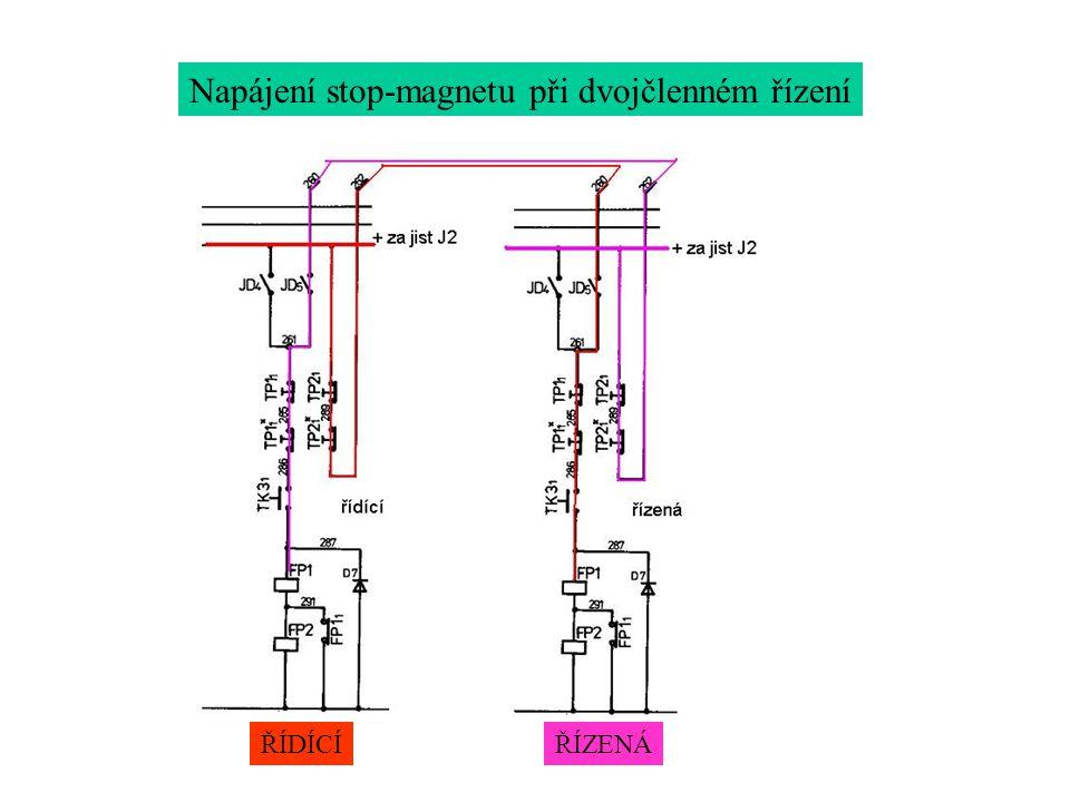 Napájení stop-magnetu při dvojčlenném řízení ŘÍDÍCÍŘÍZENÁ