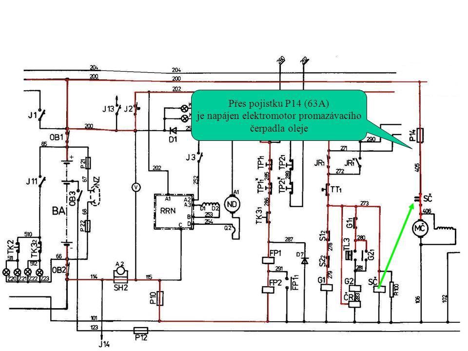Přes pojistku P14 (63A) je napájen elektromotor promazávacího čerpadla oleje