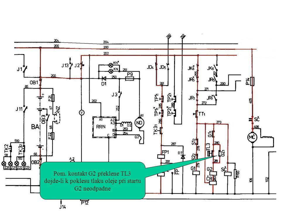 Pom. kontakt G2 překlene TL3 dojde-li k poklesu tlaku oleje při startu G2 neodpadne