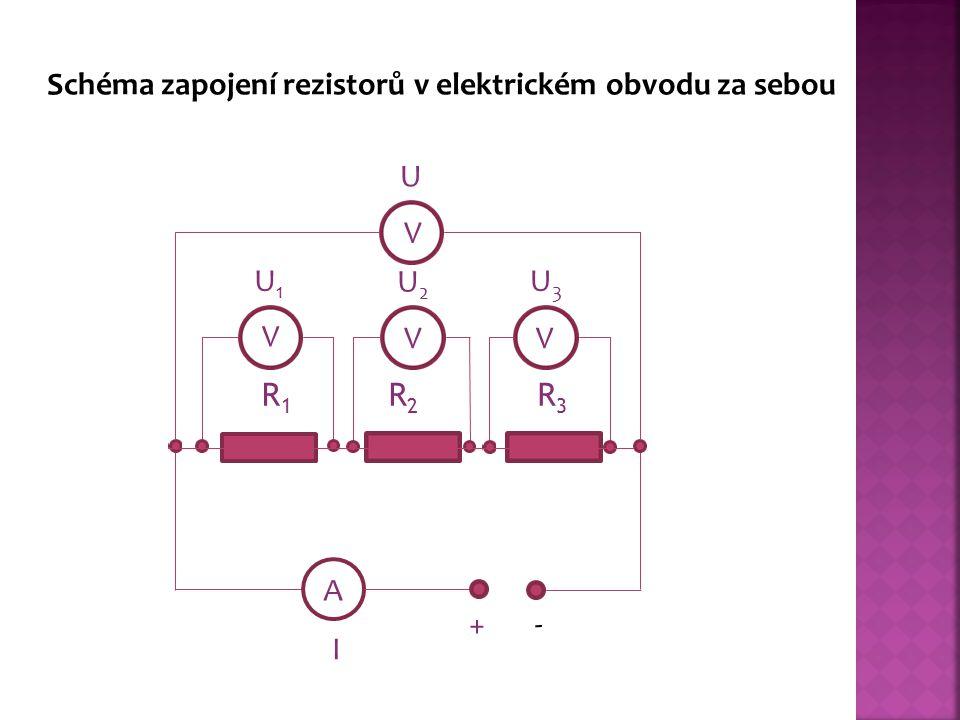 R1R1 R2R2 R3R3 A V VV V + - U1U1 U2U2 U3U3 U I Schéma zapojení rezistorů v elektrickém obvodu za sebou