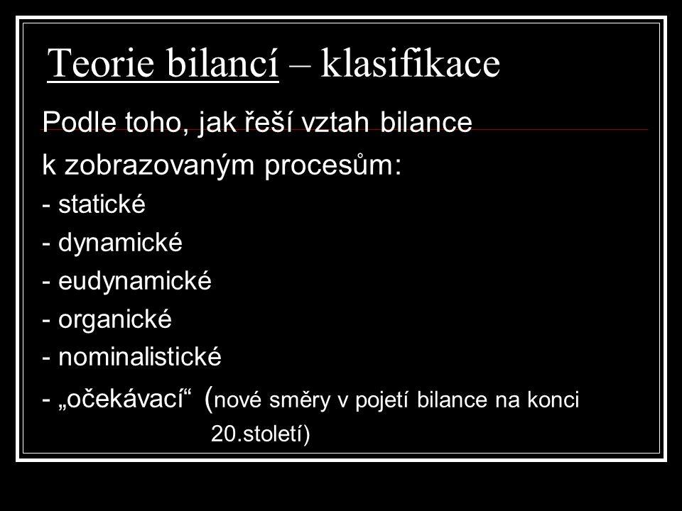 Teorie bilancí – klasifikace Podle toho, jak řeší vztah bilance k zobrazovaným procesům: - statické - dynamické - eudynamické - organické - nominalist