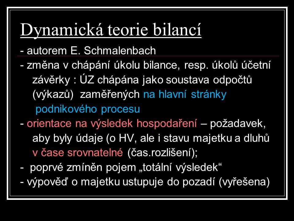 Dynamická teorie bilancí - autorem E. Schmalenbach - změna v chápání úkolu bilance, resp. úkolů účetní závěrky : ÚZ chápána jako soustava odpočtů (výk