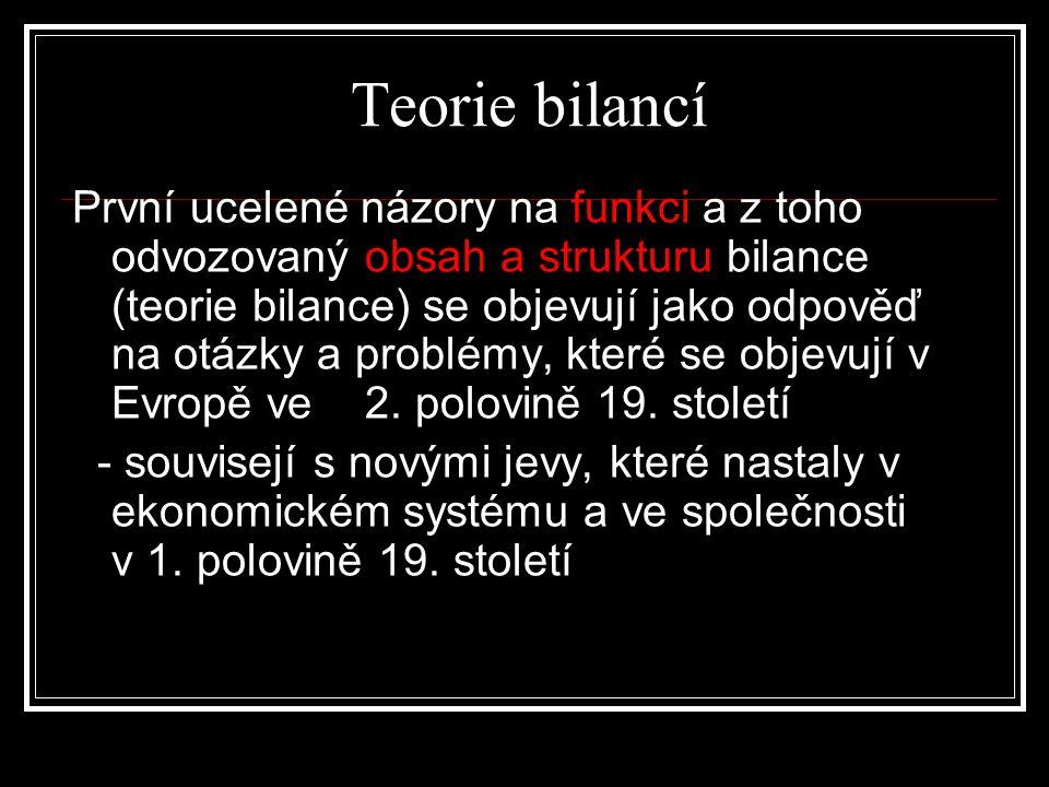 Teorie bilancí První ucelené názory na funkci a z toho odvozovaný obsah a strukturu bilance (teorie bilance) se objevují jako odpověď na otázky a prob