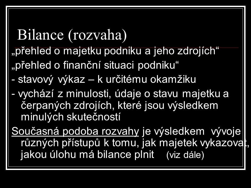"""Bilance (rozvaha) """"přehled o majetku podniku a jeho zdrojích"""" """"přehled o finanční situaci podniku"""" - stavový výkaz – k určitému okamžiku - vychází z m"""