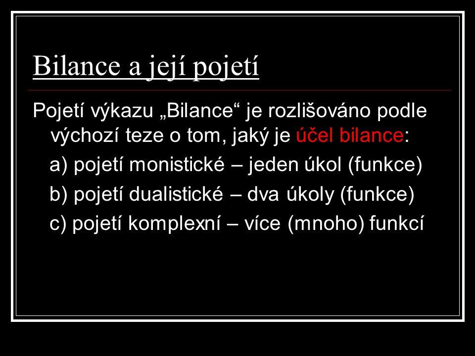 """Bilance a její pojetí Pojetí výkazu """"Bilance"""" je rozlišováno podle výchozí teze o tom, jaký je účel bilance: a) pojetí monistické – jeden úkol (funkce"""
