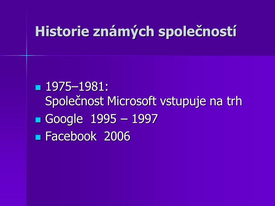 Historie známých společností 1975–1981: Společnost Microsoft vstupuje na trh 1975–1981: Společnost Microsoft vstupuje na trh Google 1995 – 1997 Google