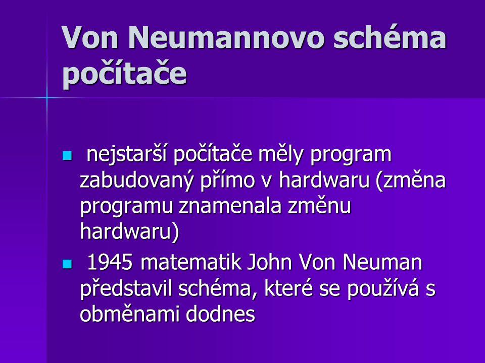 Von Neumannovo schéma počítače nejstarší počítače měly program zabudovaný přímo v hardwaru (změna programu znamenala změnu hardwaru) nejstarší počítač