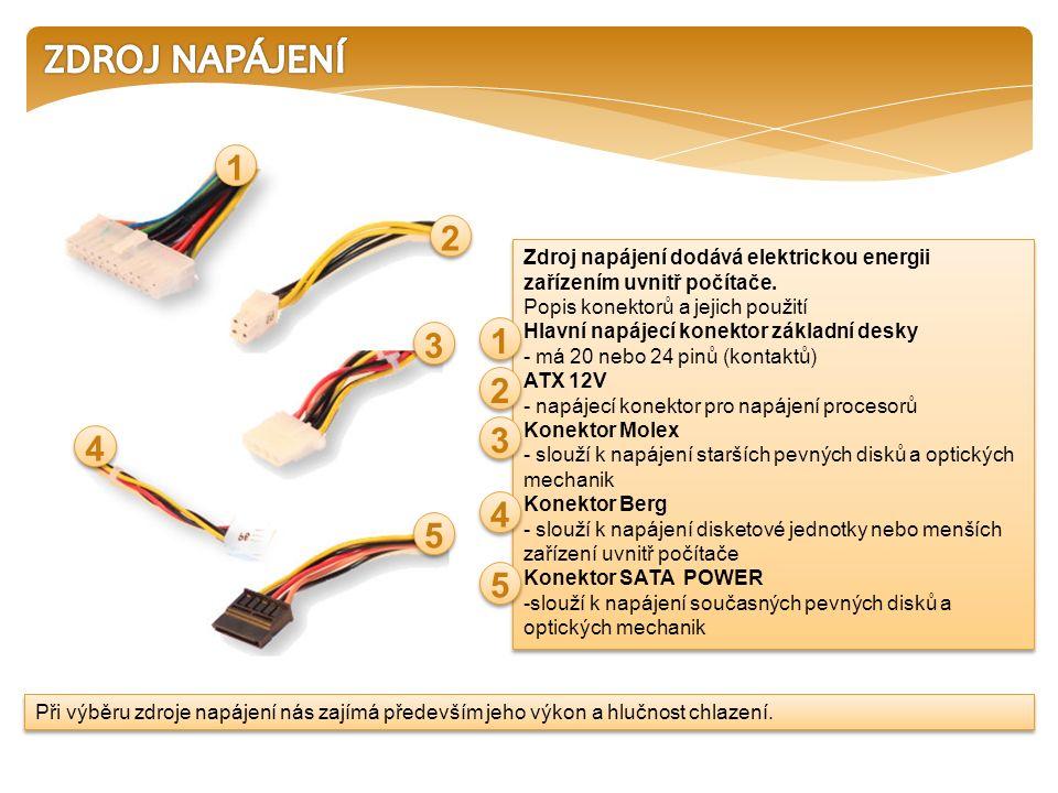 Zdroje napájení - rozlišujeme podle maximálního výkonu.