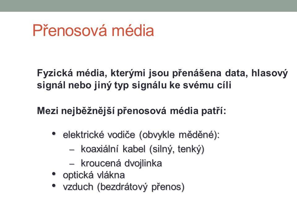 Přenosová média Fyzická média, kterými jsou přenášena data, hlasový signál nebo jiný typ signálu ke svému cíli Mezi nejběžnější přenosová média patří: