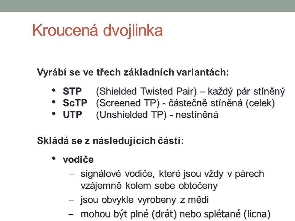 Kroucená dvojlinka Vyrábí se ve třech základních variantách: STP(Shielded Twisted Pair) – každý pár stíněný STP(Shielded Twisted Pair) – každý pár stí