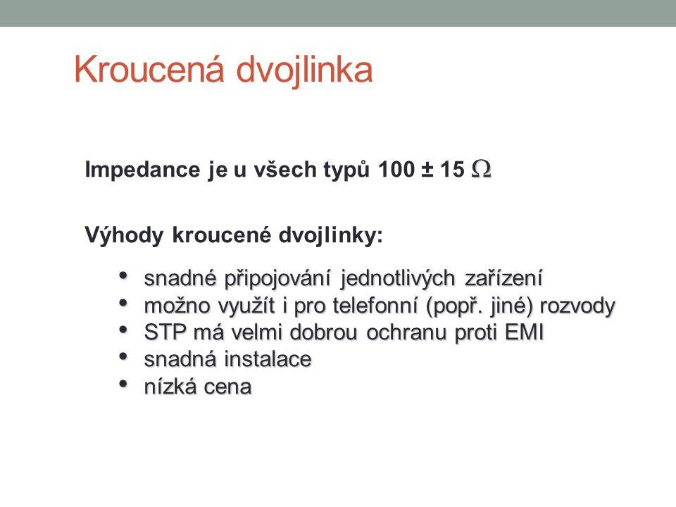 Kroucená dvojlinka  Impedance je u všech typů 100 ± 15  Výhody kroucené dvojlinky: snadné připojování jednotlivých zařízení snadné připojování jedno