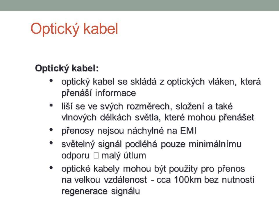 Optický kabel Optický kabel: optický kabel se skládá z optických vláken, která přenáší informace optický kabel se skládá z optických vláken, která pře