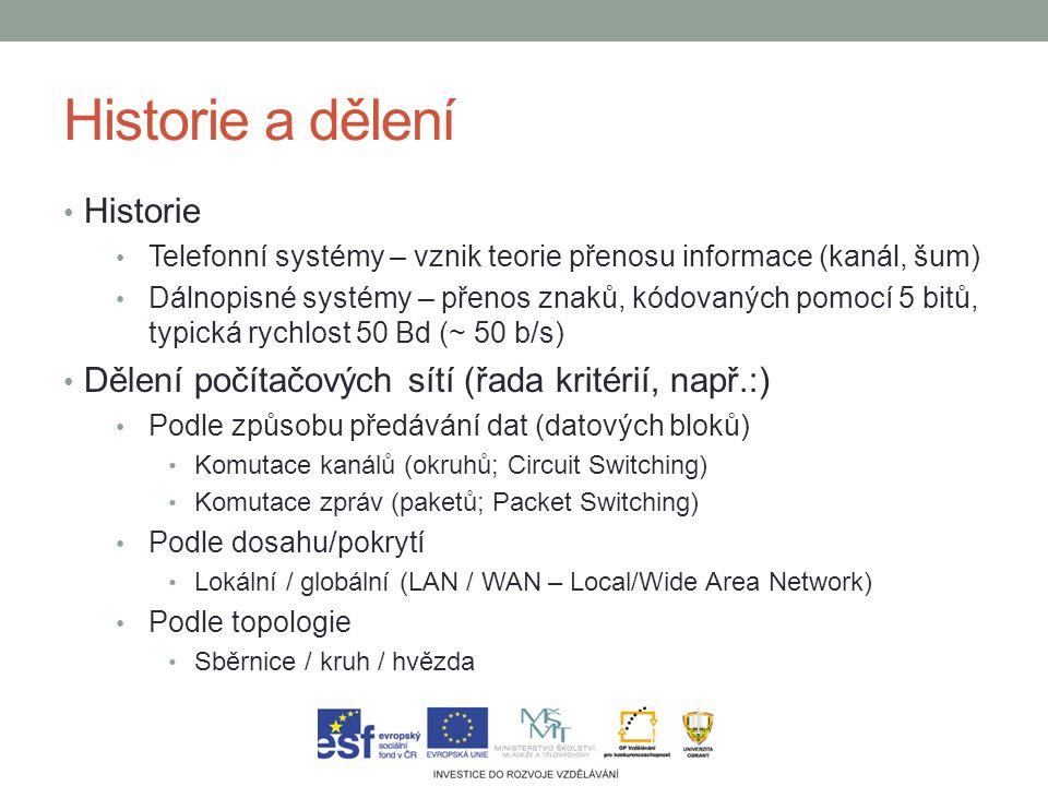 Historie a dělení Historie Telefonní systémy – vznik teorie přenosu informace (kanál, šum) Dálnopisné systémy – přenos znaků, kódovaných pomocí 5 bitů