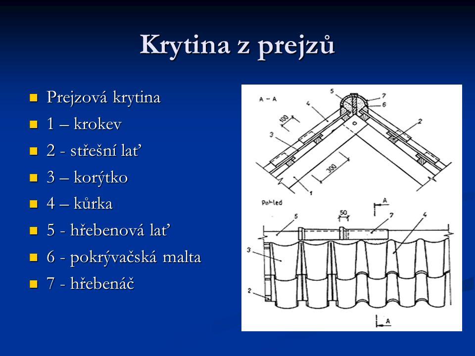 Krytina z prejzů Prejzová krytina Prejzová krytina 1 – krokev 1 – krokev 2 - střešní lať 2 - střešní lať 3 – korýtko 3 – korýtko 4 – kůrka 4 – kůrka 5