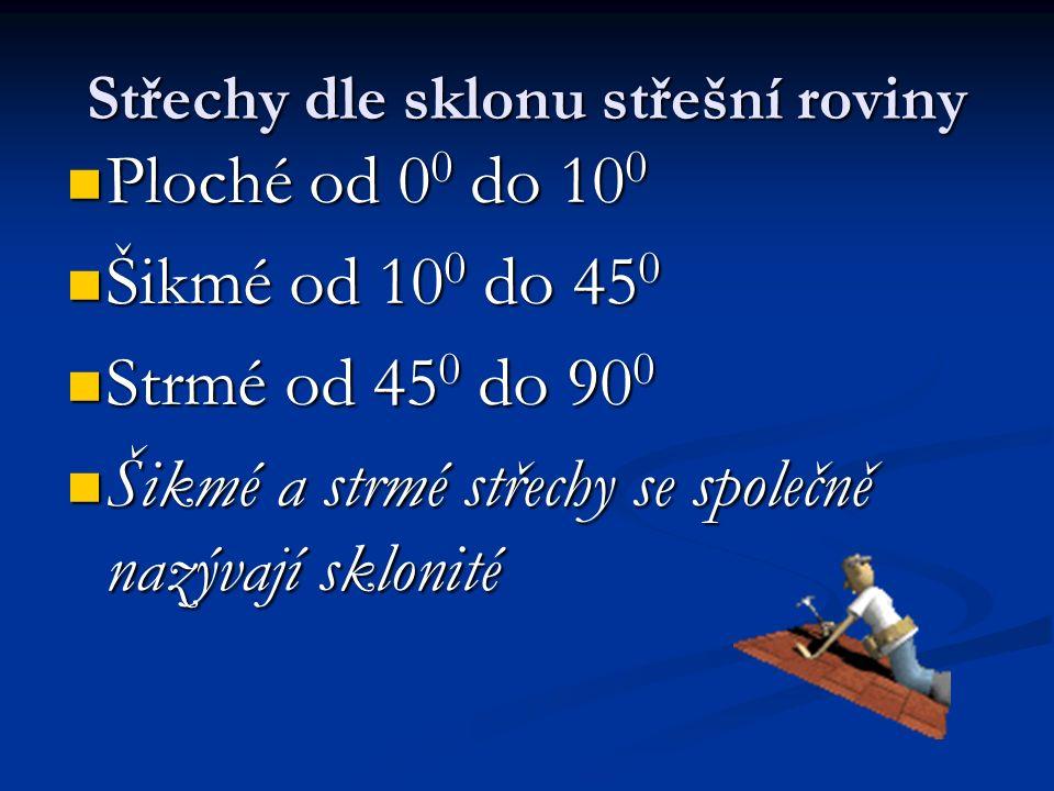 Ploché od 0 0 do 10 0 Ploché od 0 0 do 10 0 Šikmé od 10 0 do 45 0 Šikmé od 10 0 do 45 0 Strmé od 45 0 do 90 0 Strmé od 45 0 do 90 0 Šikmé a strmé stře