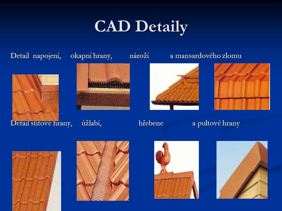 CAD Detaily Detail napojení, okapní hrany, nároží a mansardového zlomu Detail štítové hrany, úžlabí, hřebene a pultové hrany
