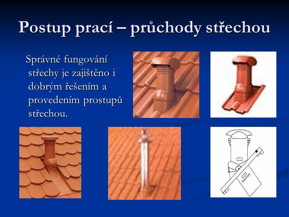 Postup prací – průchody střechou Správné fungování střechy je zajištěno i dobrým řešením a provedením prostupů střechou. Správné fungování střechy je