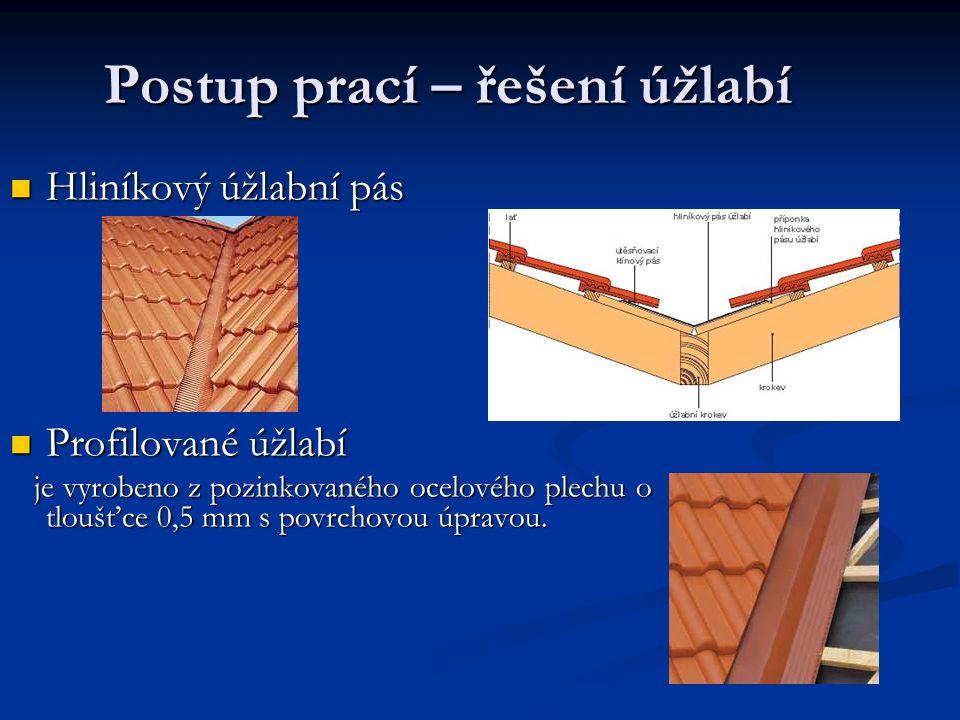 Postup prací – řešení úžlabí Hliníkový úžlabní pás Hliníkový úžlabní pás Profilované úžlabí Profilované úžlabí je vyrobeno z pozinkovaného ocelového p