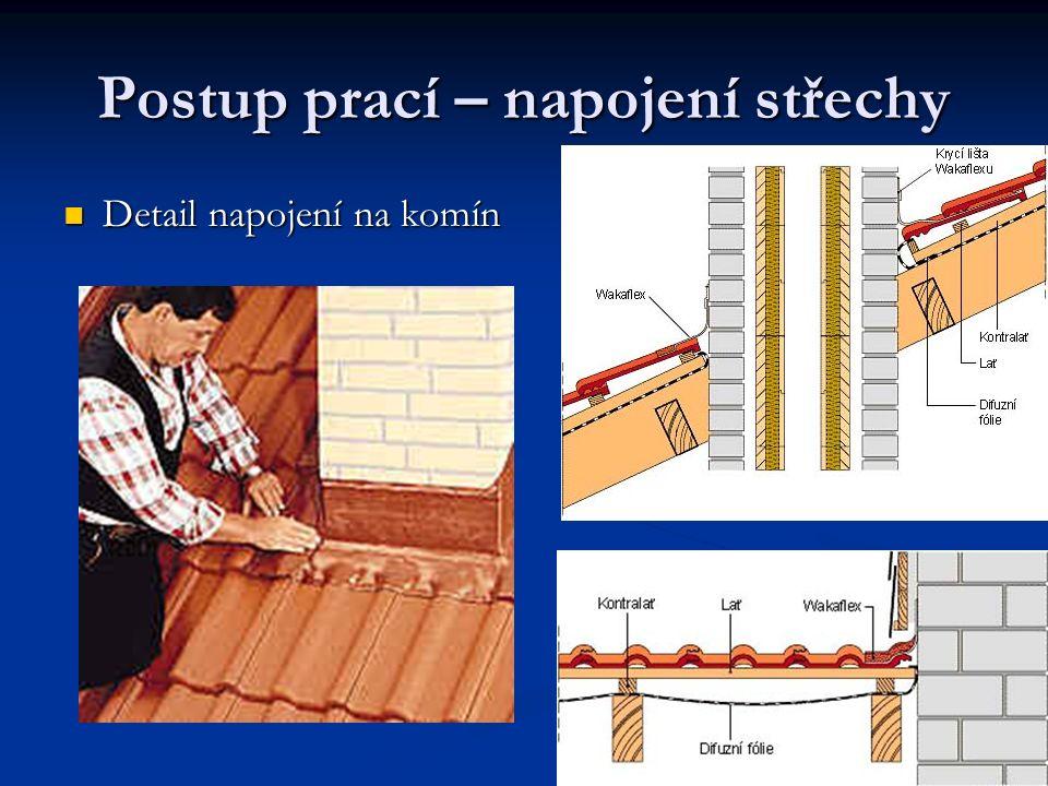 Postup prací – napojení střechy Detail napojení na komín Detail napojení na komín