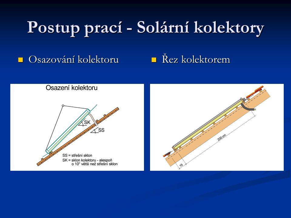 Postup prací - Solární kolektory Osazování kolektoru Osazování kolektoru Řez kolektorem