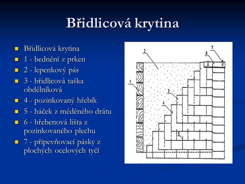 Břidlicová krytina Břidlicová krytina Břidlicová krytina 1 - bednění z prken 1 - bednění z prken 2 - lepenkový pás 2 - lepenkový pás 3 - břidlicová ta