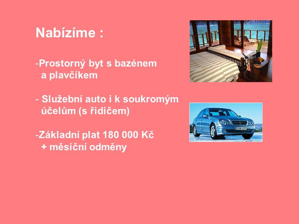 Nabízíme : -Prostorný byt s bazénem a plavčíkem - Služební auto i k soukromým účelům (s řidičem) -Základní plat 180 000 Kč + měsíční odměny