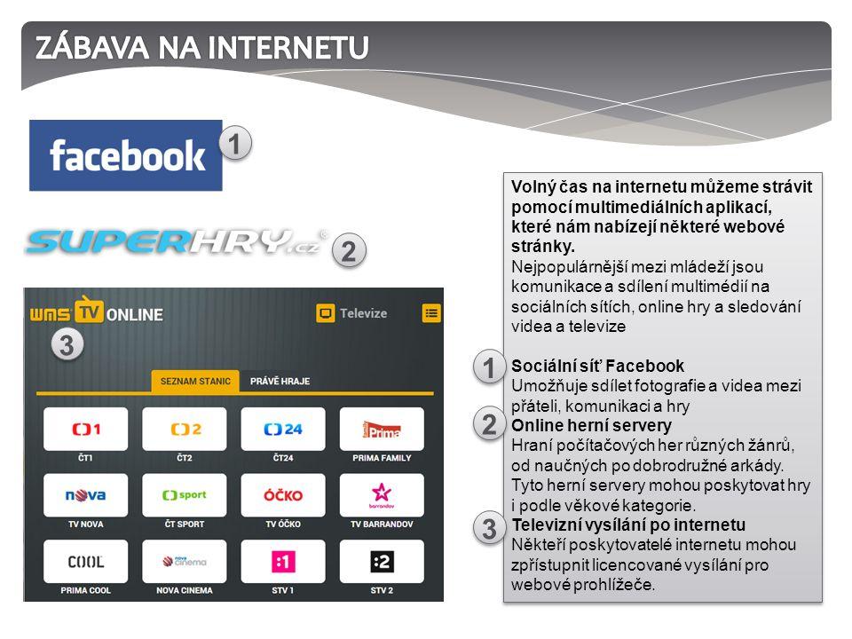 Volný čas na internetu můžeme strávit pomocí multimediálních aplikací, které nám nabízejí některé webové stránky.