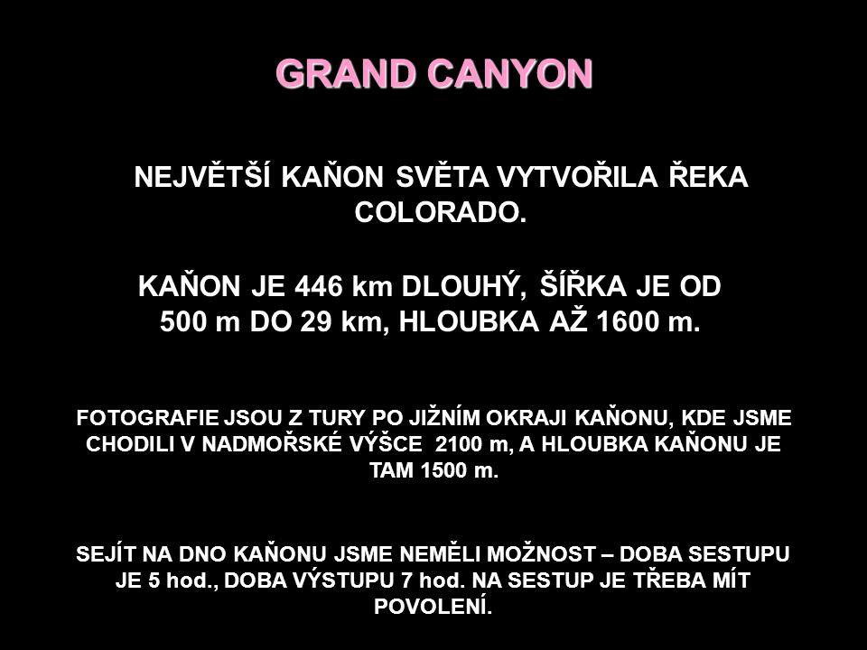 GRAND CANYON NEJVĚTŠÍ KAŇON SVĚTA VYTVOŘILA ŘEKA COLORADO.