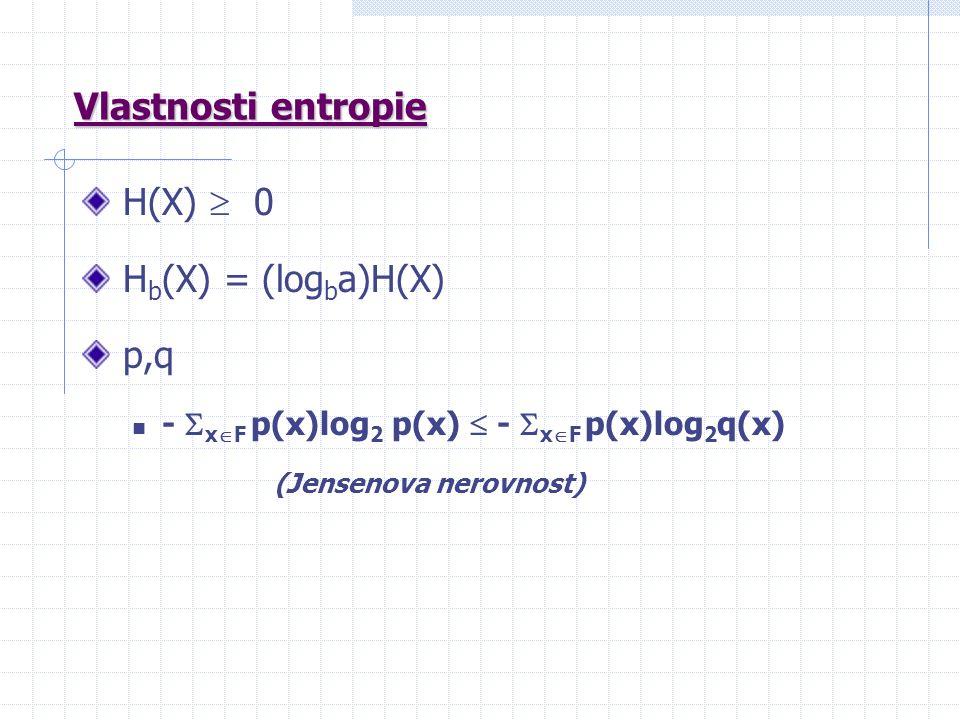 Vlastnosti entropie H(X)  0 H b (X) = (log b a)H(X) p,q -  x  F p(x)log 2 p(x)  -  x  F p(x)log 2 q(x) (Jensenova nerovnost)