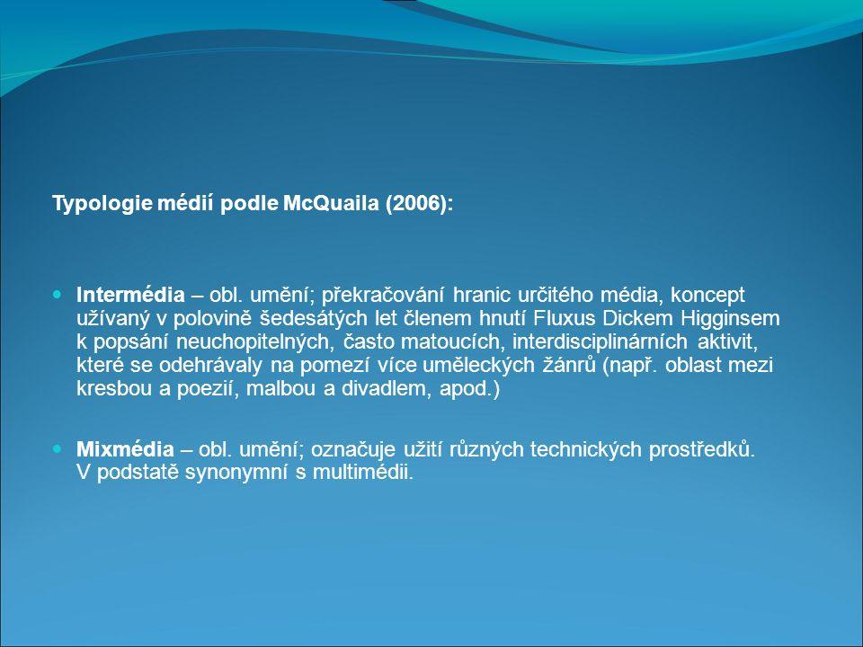 Typologie médií podle McQuaila (2006): Intermédia – obl.