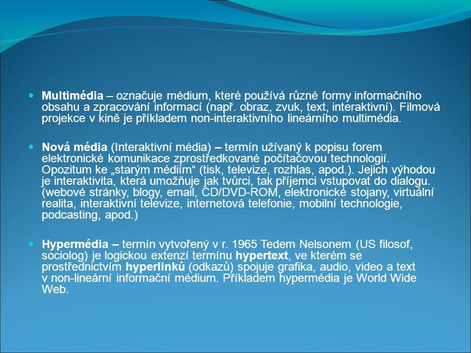 Multimédia – označuje médium, které používá různé formy informačního obsahu a zpracování informací (např.