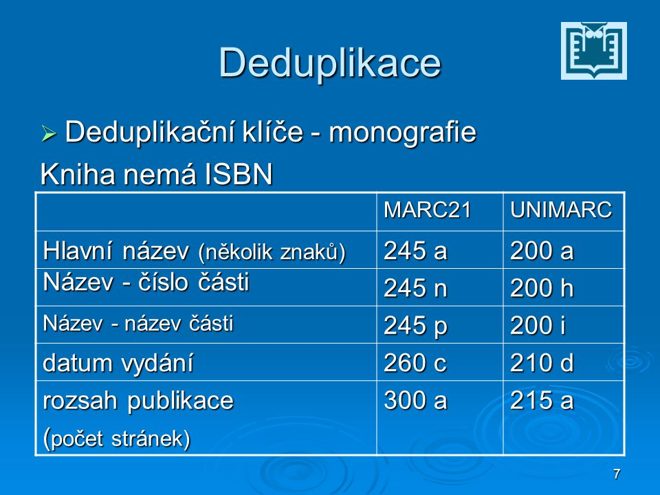 38 ISBN  Do r.2006 – 10místné ISBN  Od r. 2007 – 13místné ISBN Dotaz ke katalogizaci č.
