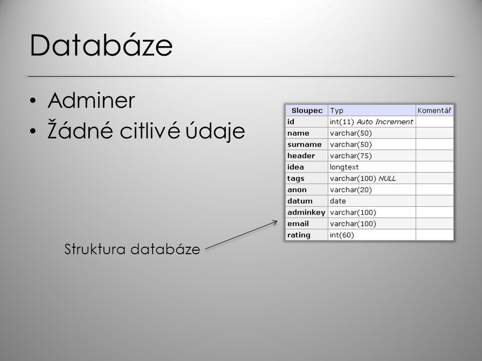 Databáze Adminer Žádné citlivé údaje Struktura databáze