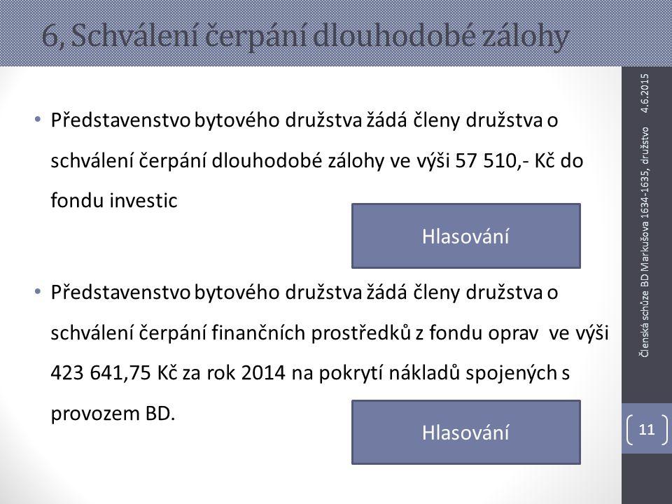 6, Schválení čerpání dlouhodobé zálohy Představenstvo bytového družstva žádá členy družstva o schválení čerpání dlouhodobé zálohy ve výši 57 510,- Kč