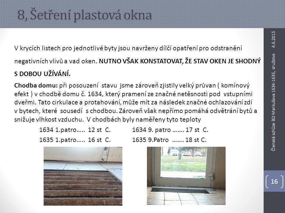 8, Šetření plastová okna V krycích listech pro jednotlivé byty jsou navrženy dílčí opatření pro odstranění negativních vlivů a vad oken. NUTNO VŠAK KO