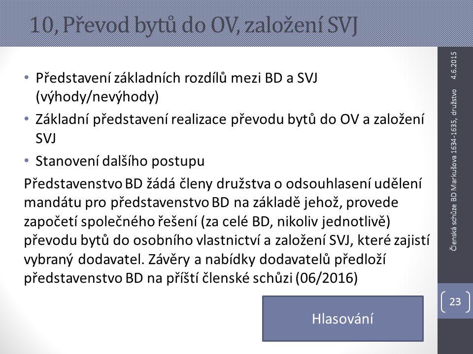 10, Převod bytů do OV, založení SVJ Představení základních rozdílů mezi BD a SVJ (výhody/nevýhody) Základní představení realizace převodu bytů do OV a