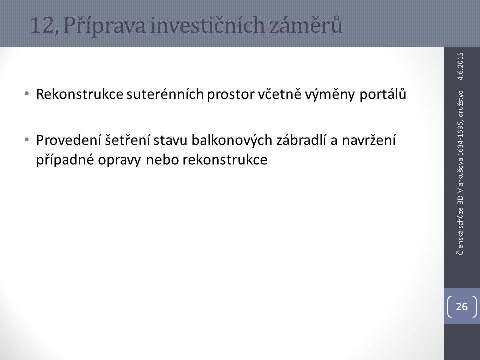 12, Příprava investičních záměrů Rekonstrukce suterénních prostor včetně výměny portálů Provedení šetření stavu balkonových zábradlí a navržení případ